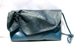 Cute Vintage Purse Denim Blue Purse  1980s  Python Print  Rouching by DIXIETEXTILES, $22.50