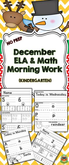 December Morning Work is a set of 35 pintables with a December theme. These activities can be used for early finishers, morning work, centers, group activities and skills review. (17 ELA pages and 17 Math pages) Letter Work, Christmas Vocabulary, Number Sense and much more... THIS is a Bundle your kiddos will definitely enjoy!
