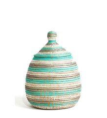 African Gourd Basket - Aqua Stripe