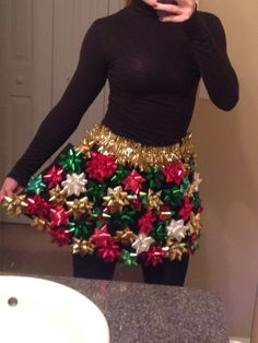 Ugly Christmas Skirt with Bows - Ugly Christmas Sweater Party by StaticThreads1 on Easy #uglychristmassweater