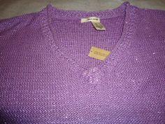 DKNY 3/4 Sleeve Purple Sparkle V Neck Sweater Large Gorgeous!  NEW With Tags!  #DKNY #VNeck