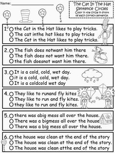 Free: The Cat In The Hat Sentence Structure Circles. Color in the circle that has the sentence written correctly...harder version. Freebie For A Teacher From A Teacher! Enjoy! http://Fairytalesandfictionby2.blogspot.com