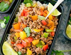 Fajita Bowls with Cauliflower Rice Meal Prep - Kirbie's Cravings