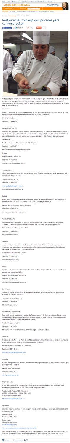 Gazeta do Povo Online - 25/06/2014  Restaurantes com espaços privados para comemorações