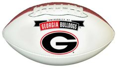 Georgia Bulldogs Official Size Synthetic Leather Autograph Football by GameMaster. $19.99. Printed High Quality Georgia Bulldogs Official Logo on One White Panel. An excellent way to display your team spirit in any room or office.. One Official Size Synthetic Leather Football with three white panels and one brown pebble panel.. The three bright white panels allow plenty of space for autographs of your favorite players and coaches.. NCAA Georgia Bulldogs Official S...