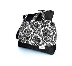Black, baroque-floral shoulder-bag, Linen and denim bag, Women's bag, Boho bag, Everyday handbag, Easter gifts, Birthday gifts