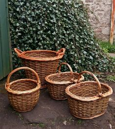 Bushel log basket,  oval shoppers & 'red Riding Hood' round shopper