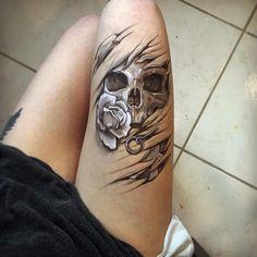 Stay tuned for it saturday bodyart tattoo drawing skull rose grenade death Feminine Skull Tattoos, Skull Thigh Tattoos, Small Skull Tattoo, Skull Tattoo Flowers, Skull Rose Tattoos, Skull Sleeve Tattoos, Skull Tattoo Design, Leg Tattoos, Body Art Tattoos