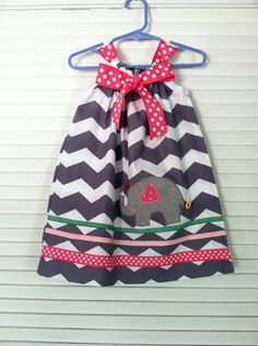 Girls, Baby Girls, Chevron pillowcase dress with Ellie the Elephant , Take me to the zoo or just love Elephant.