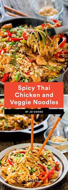 Spicy Thai Chicken and Veggie Noodles Recipe