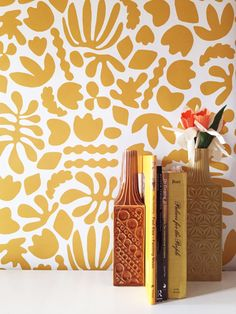 Removable Wallpaper // Mustard Matisse is my muse // Adheres to walls and shelves and is removable