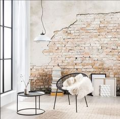 I dig exposed brick so hard. Brick Interior, Office Interior Design, Interior Design Living Room, Interior Architecture, Interior And Exterior, Cafe Design, House Design, Brick Wall Decor, White Brick Walls