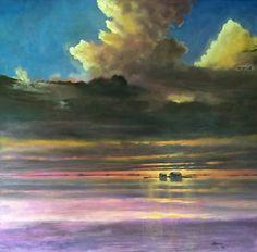 """Laguna Madre, Late Morning"" by Jeffrey Neel McDaniel Oil ~ 63"" x 62"""