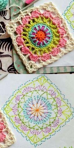 Transcendent Crochet a Solid Granny Square Ideas. Inconceivable Crochet a Solid Granny Square Ideas. Crochet Squares, Point Granny Au Crochet, Crochet Motifs, Crochet Blocks, Granny Square Crochet Pattern, Crochet Diagram, Crochet Chart, Crochet Patterns, Granny Squares