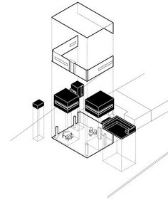 a collection of sculptural and abstract volumes designed by madrid-based architecture firm OHLAB form the new elojeria alemana jewelry store in mallorca. Architecture Program, Architecture Drawings, Concept Draw, Black Interior Design, Concept Diagram, Jewelry Stores, Design Inspiration, Black And White, Post Office