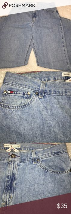 "Tommy Hilfiger High Waist Jeans Leather patch 199% cotton. Leather patch. 5 pockets. Tag marked 14L. (14 long). Measurements: WAIST 16"" flat; RISE 11.5"" ;  INSEAM 31"" ; OUTSEAM 41.5"" Tommy Hilfiger Jeans"