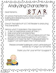 character analysis parent letter from building star readers