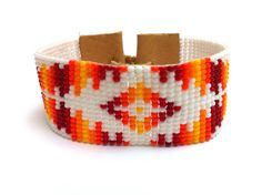 Loom Beaded Sunset Bracelet by Beadalilmore on Etsy, $20.00