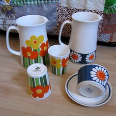 Figgjo Annemarie and Daisy pitchers, mugs, cup and saucer.
