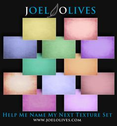 100 Pastel Textures by Joel Olives coming very soon! Help me name my new texture set.  If I choose your suggestion get the entire collection for free! Click the following link to enter! https://www.facebook.com/photo.php?fbid=10150578850286710&set=a.468010246709.254481.89351521709&type=1&theater