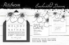 Petal Noir - Enchanted Dream by AM Studio on @creativemarket wedding invitation, along with matching 'Save The Date' and 'RSVP' card.
