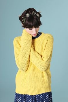 Just because the sky is grey doesn't mean you have to be. Beehive Knit Jumper Yellow - http://www.thewhitepepper.com/collections/knitwear/products/beehive-knit-jumper-yellow  #TWP