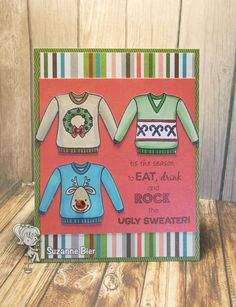 Your Next Stamp: Ugly Sweater Stamp Set Christmas Paper Crafts, Homemade Christmas Cards, Christmas Tag, Winter Christmas, Christmas Images, Christmas Jumpers, Christmas Sweaters, Xmas Cards To Make, Ugly Xmas Sweater