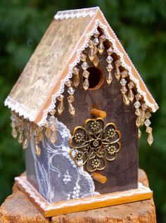 Antique Victorian Charm Mixed Media Birdhouse by TheVelvetRobyn, $42.00