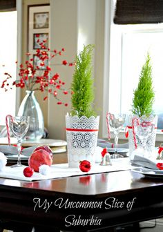 Dinning Room Christmas house tour My Uncommon Slice of Subrubia Christmas And New Year, All Things Christmas, Christmas Home, Christmas Holidays, Christmas Ideas, Christmas Tablescapes, Magical Christmas, Christmas Projects, White Christmas