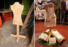 Lots of tips for displays. This pic shows a simple floor stand for a display- plywood + jigsaw and parts + nails Craft Booth Displays, Store Displays, Display Ideas, Booth Ideas, Craft Booths, Hat Display, Clothing Displays, Clothing Booth Display, Craft Stalls