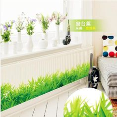 * 3D Fresh green grass baseboard PVC Wall Stickers Skirting kids living Room bedroom Bathroom Kitchen nursery balcony home decor