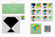 Tangram worksheet 193 : Glass - This worksheet is available for free download at http://www.tangram-channel.com
