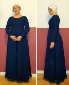 Late 14th century gown worn over supportive undergarment. This gown is put on over the head.