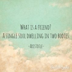 """What is a friend?  A single soul dwelling in two bodies."" - Aristotle  #quote #friend #aristotle"