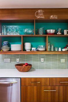 Brentwood, Mid Century Modern Kitchen - Beth Haley Interior Design Nashville Walnut Kitchen Cabinets, Painting Kitchen Cabinets, Modern Kitchen Interiors, Boutique Interior Design, Mid Century Modern Kitchen, Home Kitchens, Mid-century Modern, Kitchen Design, Interior Decorating