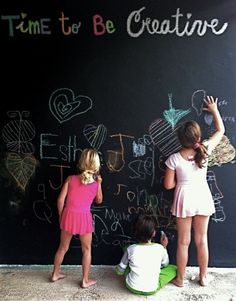 outdoor chalkboard. This would be great for the back garage door and then I can just hose it off.