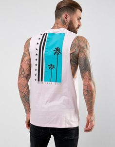 ASOS Longline Sleeveless T-Shirt With Dropped Armhole & Palm Back Prin