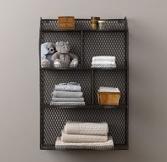Vintage Wire Cubby Shelf - above the changing table