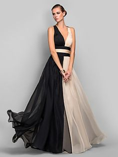 TS Couture® Formal Evening / Military Ball Dress - Beautiful Back / Color Block / Vintage Inspired Plus Size / Petite A-line / Princess V-neck – USD $ 435.00