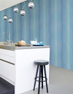 Rain Pastel - R1631 Shades of blue striped wallpaper!
