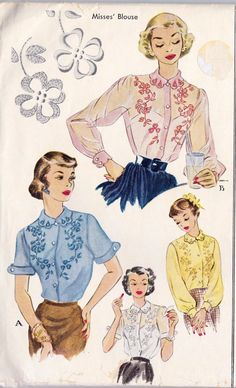 1950s Misses Blouse with Embroidery Transfer