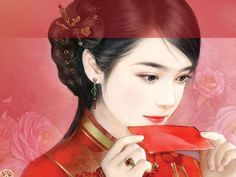 Chinese Hanfu Hairstyle (Ming Period) sample 4  Post card art