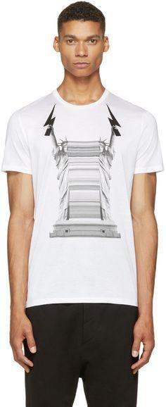 Neil Barrett: White Liberty Lightning Print T-Shirt