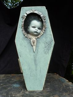 Items similar to The Orphanage of misfit babes Coffin display case on Etsy Halloween Doll, Halloween 2016, Halloween Projects, Holidays Halloween, Halloween Themes, Vintage Halloween, Halloween Decorations, Halloween Party, Creepy Halloween