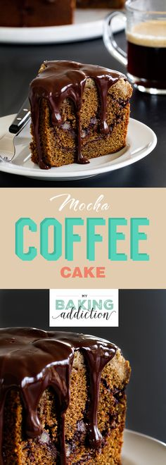 Mocha Coffee Cake is swirled with chocolate and topped with an espresso crumb topping. The Kahlua ganache makes it absolutely amazing.