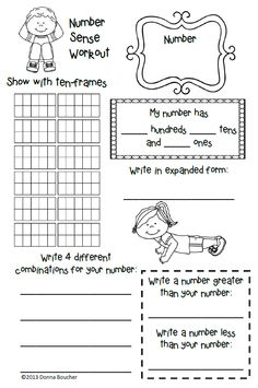 Here's a number sense workout page for use with number of the day activities.