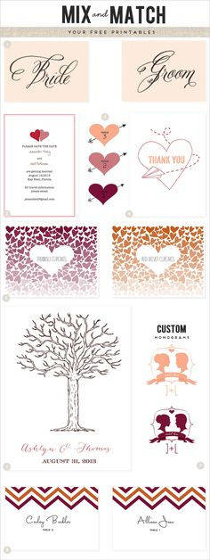 some of our favorite free wedding printables