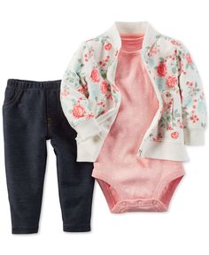 Your little flower will look pretty and be so comfy in this carter's French Terry jacket, Bodysuit, and Pant Set. A baseball-style jacket in an elegant pink and green rose pattern is matched with a pink dot bodysuit and denim pant. Baby Outfits, Outfits Niños, Kids Outfits, Baby Girl Pants, Carters Baby Girl, My Baby Girl, Fashion Niños, Baby Girl Fashion, Kids Fashion