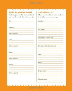 Campfire Cuisine: Meal Planning and Shopping List Form