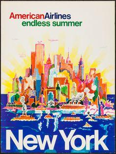 American Airlines Travel Poster: Endless Summer (1970s) Swiss artist Harry Bertschmann